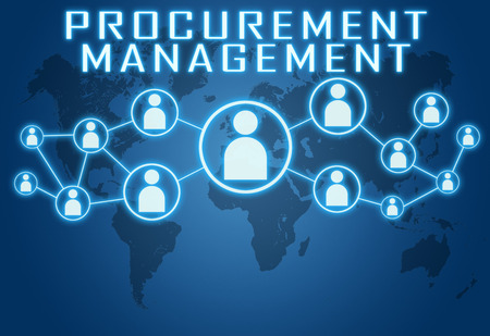 Procurement Management concept on blue background with world map and social icons.