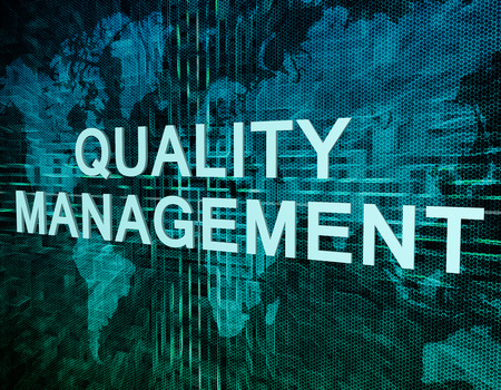 quality: Quality Management text concept on green digital world map background Stock Photo