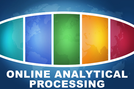 online analytical processing: Online Analytical Processing text illustration concept on blue background with colorful world map