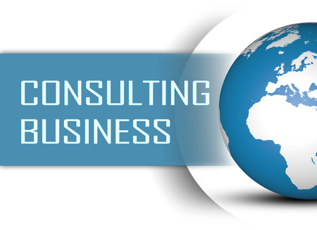 consulting: Consulting Business concept with globe on white background Stock Photo