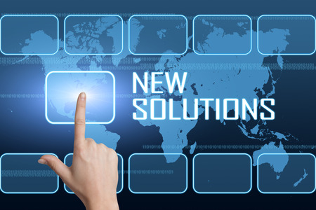 new solutions: New Solutions concept with interface and world map on blue background Stock Photo