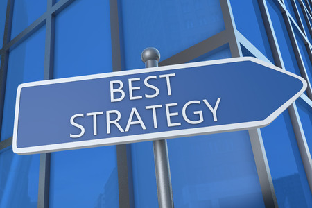 best guide: Best Strategy - illustration with street sign in front of office building. Stock Photo