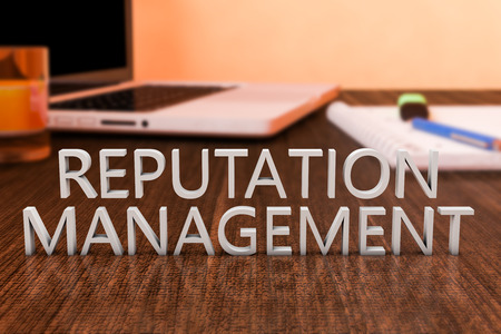 pr: Reputation Management - letters on wooden desk with laptop computer and a notebook. 3d render illustration.
