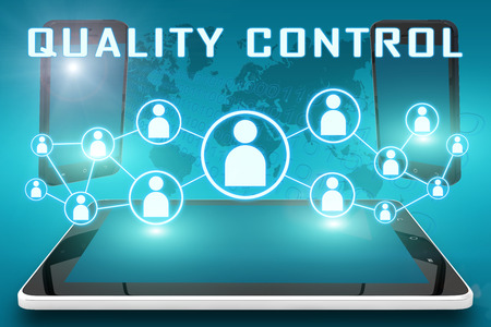 Quality Control - text illustration with social icons and tablet computer and mobile cellphones on cyan digital world map background. Stock Photo