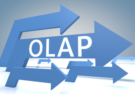 online analytical processing: OLAP - Online Analytical Processing - render concept with blue arrows on a bluegrey background. Stock Photo