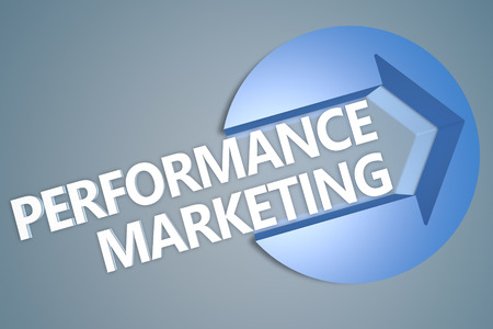 emarketing: Performance Marketing - text 3d render illustration concept with a arrow in a circle on blue-grey background