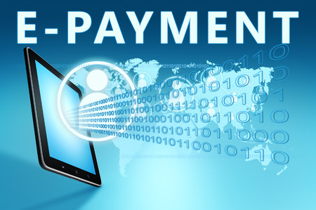 epayment: E-Payment illustration with tablet computer on blue background Stock Photo