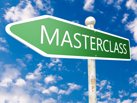 elearn: Masterclass - street sign illustration in front of blue sky with clouds.
