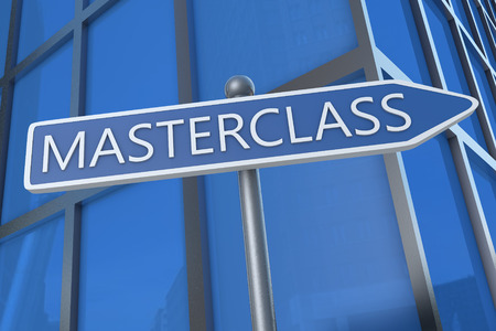 elearn: Masterclass - illustration with street sign in front of office building. Stock Photo