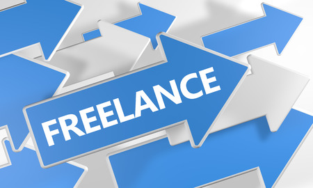 independent contractor: Freelance - 3d render concept with blue and white arrows flying over a white background.