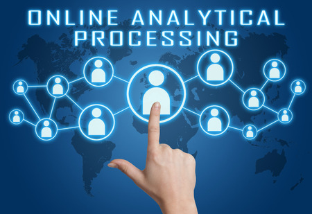 online analytical processing: Online Analytical Processing concept with hand pressing social icons on blue world map background.