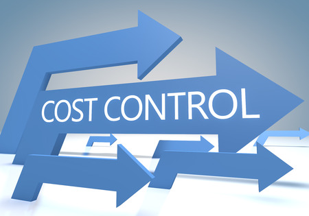 cost: Cost Control - render concept with blue arrows on a bluegrey background. Stock Photo