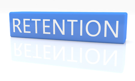 retention: Retention - 3d render blue box with text on it on white background with reflection