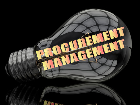 procurement: Procurement Management - lightbulb on black background with text in it. 3d render illustration.
