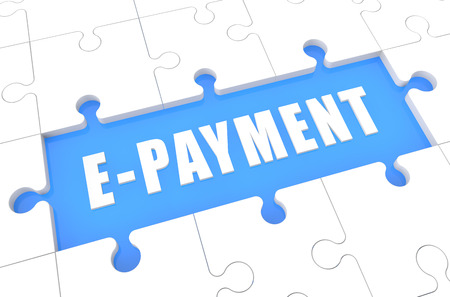 epayment: E-Payment - puzzle 3d render illustration with word on blue background Stock Photo