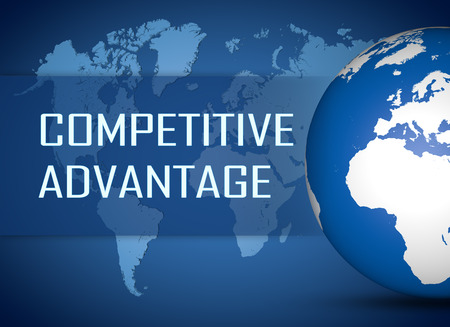 differentiation: Competitive Advantage concept with globe on blue world map background