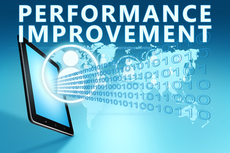 performance improvement: Performance Improvement illustration with tablet computer on blue background Stock Photo