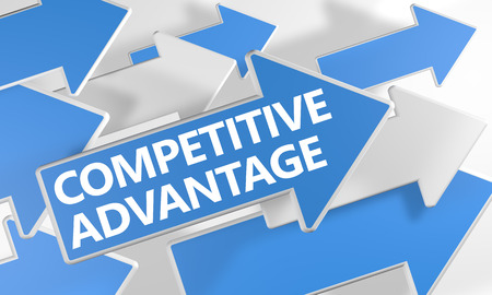 in differentiation: Competitive Advantage - 3d render concept with blue and white arrows flying over a white background. Stock Photo