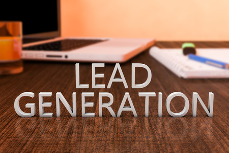 sales person: Lead Generation - letters on wooden desk with laptop computer and a notebook. 3d render illustration.