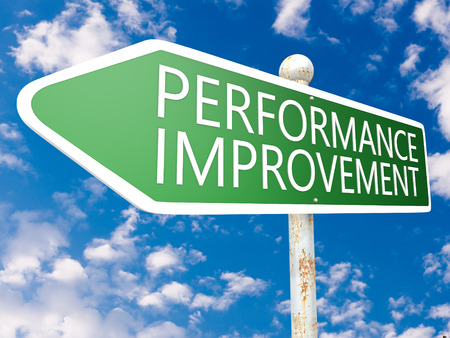 performance improvement: Performance Improvement - street sign illustration in front of blue sky with clouds. Stock Photo
