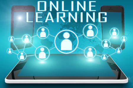 온라인 학습 - 사회적 아이콘과 태블릿 컴퓨터 및 시안 디지털 세계지도 배경에 모바일 휴대 전화와 텍스트입니다.