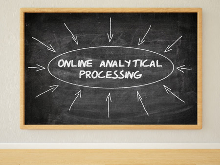 online analytical processing: Online Analytical Processing - 3d render illustration of text on black chalkboard in a room.