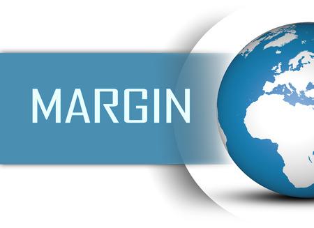 margine: Concetto di margine con il globo su sfondo bianco