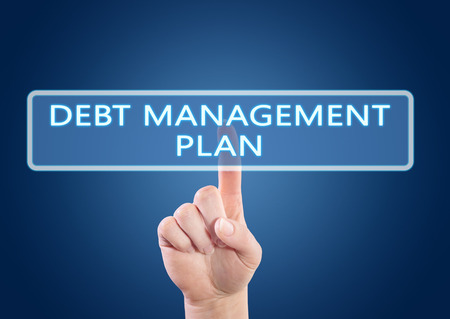 debt management: Debt Management Plan - hand pressing button on interface with blue background.