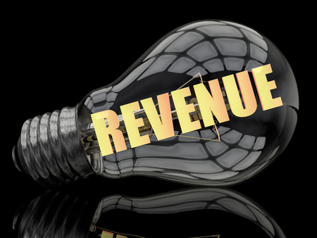 revenue: Revenue - lightbulb on black background with text in it. 3d render illustration.