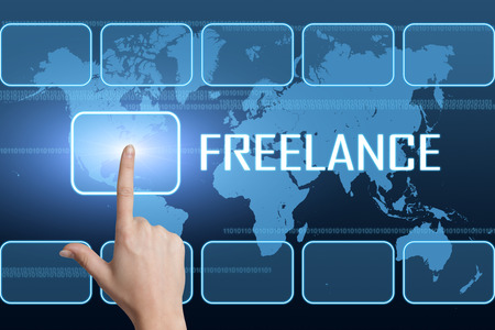 freelancers: Freelance concept with interface and world map on blue background Stock Photo