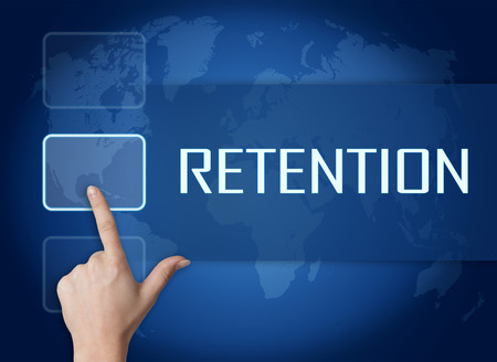 retention: Retention concept with interface and world map on blue background