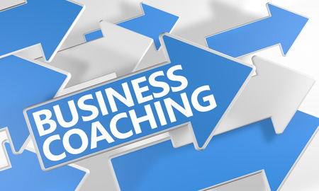Business Coaching 3d render concept with blue and white arrows flying over a white background. Standard-Bild
