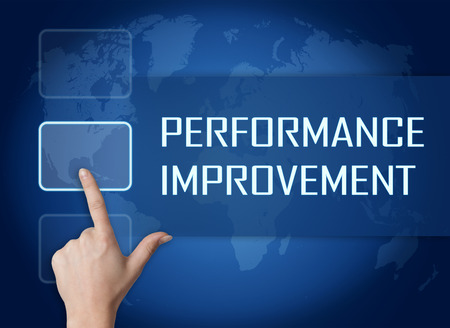 performance improvement: Performance Improvement concept with interface and world map on blue background