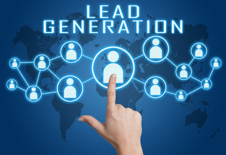 Lead Generation concept with hand pressing social icons on blue world map background.