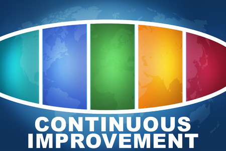 cip: Continuous Improvement text illustration concept on blue background with colorful world map Stock Photo