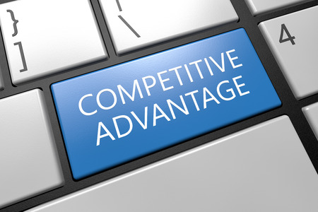 in differentiation: Competitive Advantage - keyboard 3d render illustration with word on blue key