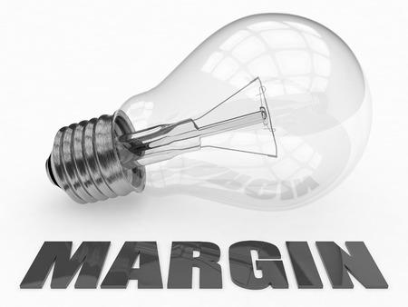 margen: Margen - bombilla sobre fondo blanco con el texto debajo de ella. 3d ilustración. Foto de archivo