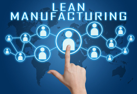 Lean Manufacturing concept with hand pressing social icons on blue world map background. Stock Photo