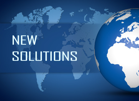 new solutions: New Solutions concept with globe on blue world map background