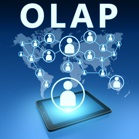 online analytical processing: OLAP - Online Analytical Processing illustration with tablet computer on blue background