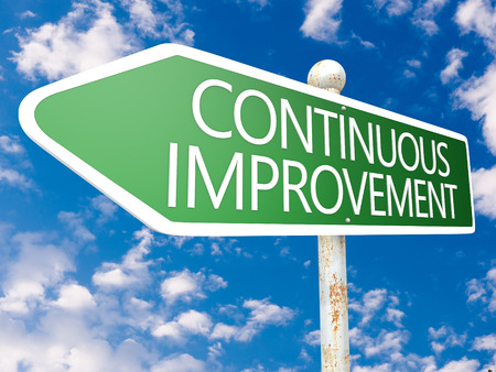 cip: Continuous Improvement - street sign illustration in front of blue sky with clouds. Stock Photo