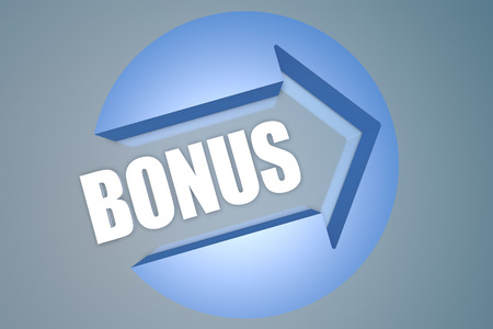 extra money: Bonus - text 3d render illustration concept with a arrow in a circle on blue-grey background