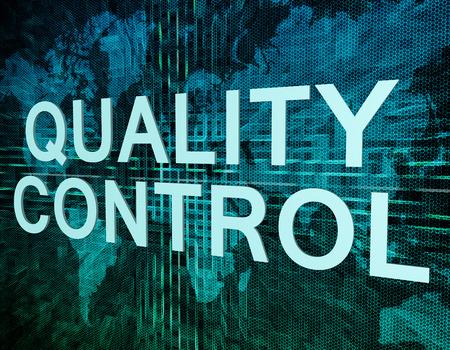 control de calidad: Control de calidad Concepto de texto en verde mundo digital mapa de fondo
