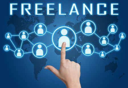 freelancers: Freelance concept with hand pressing social icons on blue world map background.