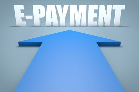 epayment: E-Payment - 3d render concept of blue arrow pointing to text. Stock Photo