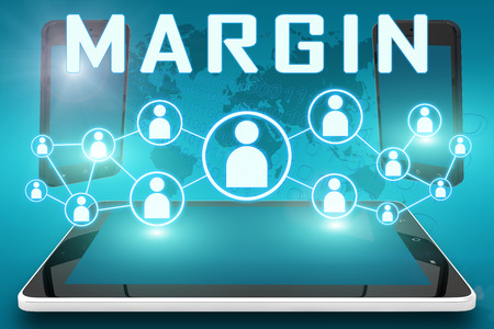 margine: Margin - text illustration with social icons and tablet computer and mobile cellphones on cyan digital world map background. Archivio Fotografico
