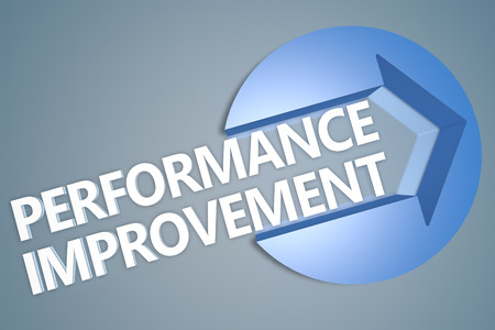 performance improvement: Performance Improvement - text 3d render illustration concept with a arrow in a circle on blue-grey background
