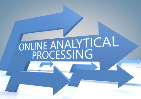 online analytical processing: Online Analytical Processing - render concept with blue arrows on a bluegrey background. Stock Photo