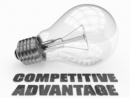 differentiation: Competitive Advantage - lightbulb on white background with text under it. 3d render illustration.