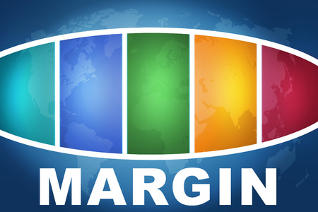 margine: Margin text illustration concept on blue background with colorful world map Archivio Fotografico